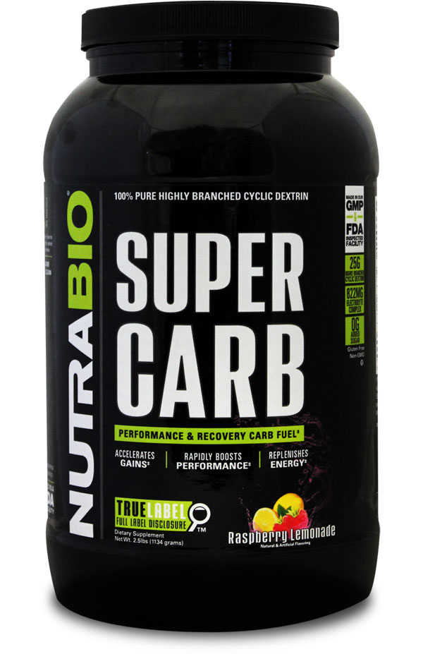 Super Carb from NutraBio is the ultimate pre workout carbohydrate that supplies 25g of highly branched cyclic dextrin to fuel your performance.