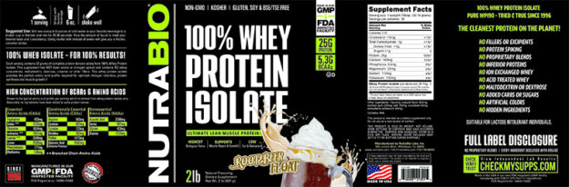 NutraBio Whey Isolate Root Beer Float Full Label