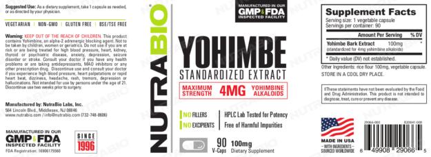 NutraBio Yohimbe Label