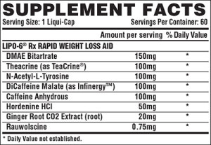 Nutrex Lipo-6 Rx Ingredients