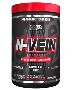 N-Vein is the all-new stimulant free pre workout from Nutrex Research that delivers huge pumps without caffeine.