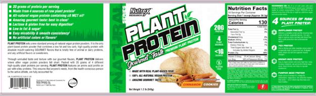 Nutrex Plant Protein Label