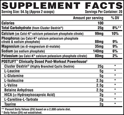 Nutrex Post Lift Ingredients