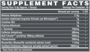 Nutrex Warrior Updated Ingredients