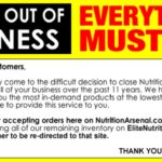 EliteNutrition.com and NutritionArsenal.com are closing their doors for good.