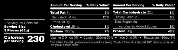 Optimum Nutrition Cake Bites Label
