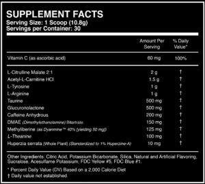 Outbreak Nutrition FPS Ingredients