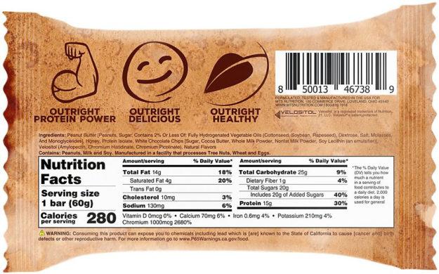 Outright Breakfast Bar Label