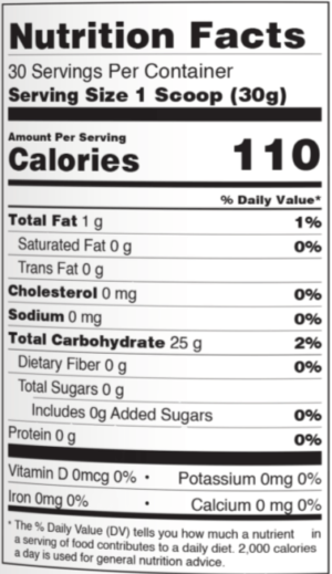 PEScience VersaCARB Nutrition Facts