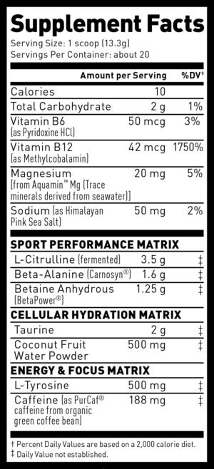 Pre-Kaged Sport Ingredients