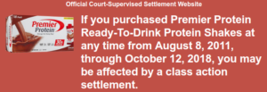 Premier Protein Lawsuit Settlement
