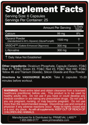 Primeval Labs Vasogorge Black Ingredients