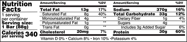ProSupps MyBar PRO Nutrition Facts