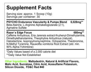 Psycho Pharma Edge of Insanity Ingredients