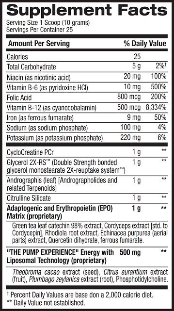 Pump HD New Formula Ingredients