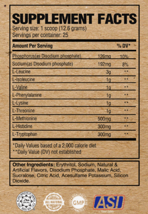 Raw Nutrition EAA Ingredients