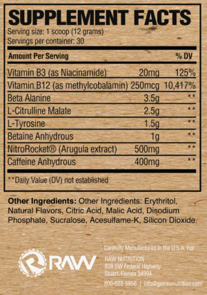 Raw Nutrition RAW Pre Extreme Ingredients