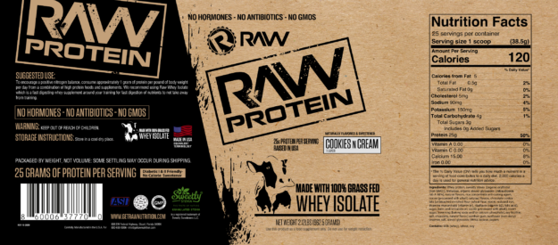 Raw Nutrition Protein Cookies n Cream Label