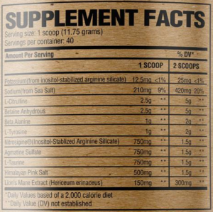 RAW Nutrition Pump Ingredients