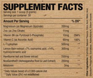 Raw Nutrition Sleep Ingredients