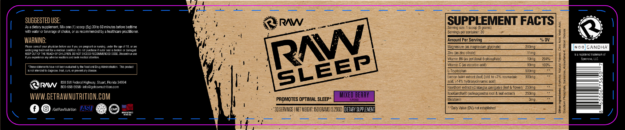 Raw Nutrition Sleep Label