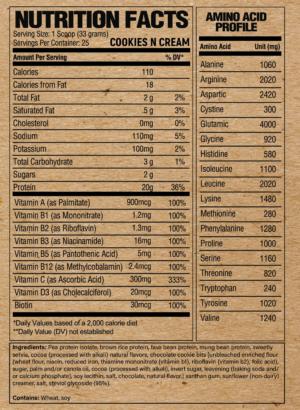 Raw Nutrition Vegan Cookies n Cream Ingredients