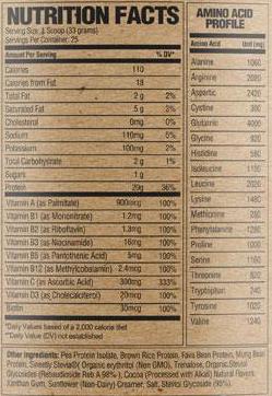 RAW Nutrition Vegan Protein Ingredients