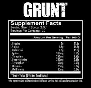 RedCon1 Grunt Ingredients