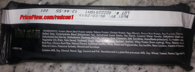 RedCon1 MRE Bar Ingredients Label