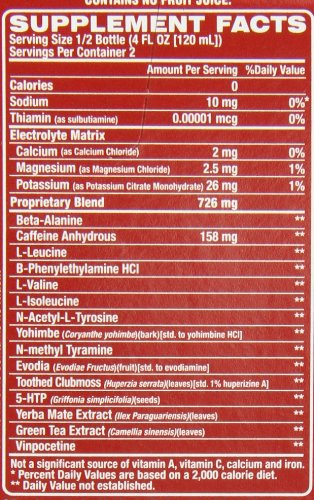 VPX Redline Xtreme RTD Ingredients