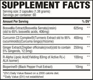 Revive MD Turmeric+ Ingredients