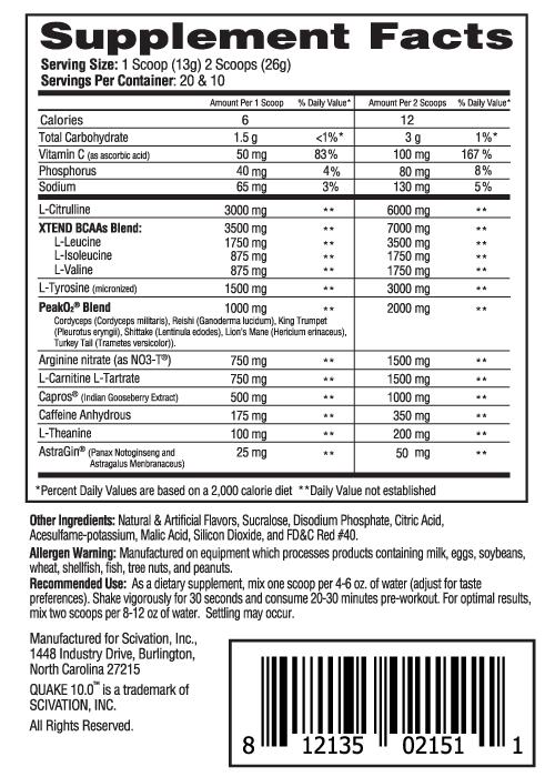 Scivation Quake Ingredients