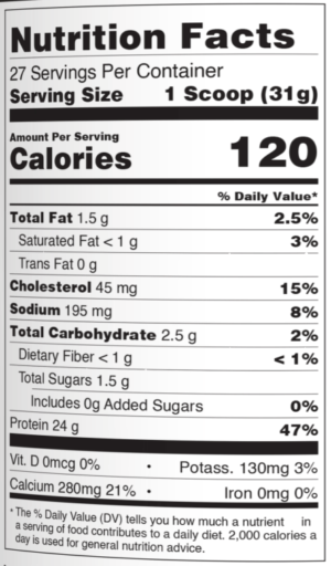 Select Protein Peppermint Nutrition Facts