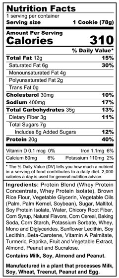 SinFit Cookie Ingredients