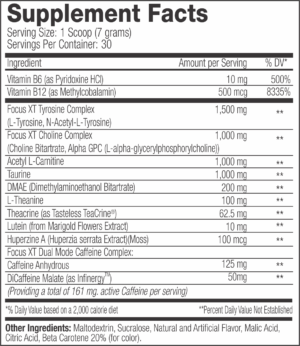 SNS Focus XT Ingredients