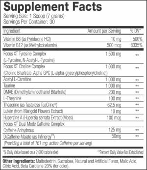 SNS Focus XT Ingredients