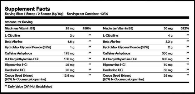 Sparta Nutrition Kraken Black Ingredients