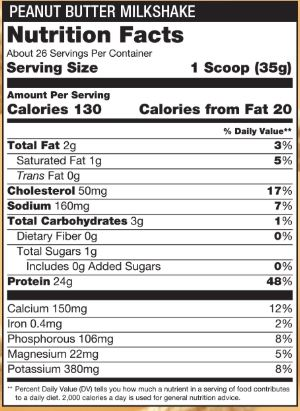 Steel Whey Peanut Butter Milkshake Nutrition Facts Panel