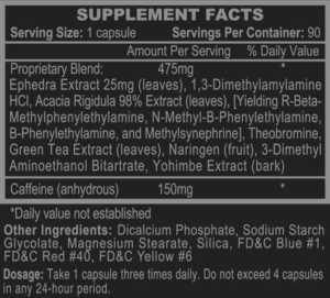 Stimerex Hardcore Ingredients