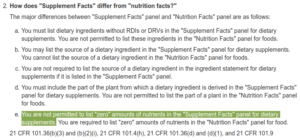 Supplement Facts vs. Nutritional Facts