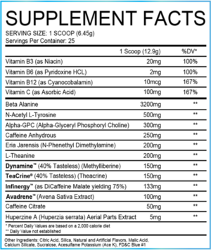 SWFT Stims Stim BOMB Supplement Facts