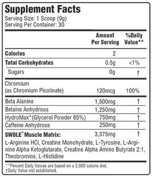 Swole Sports PreWrek Ingredients