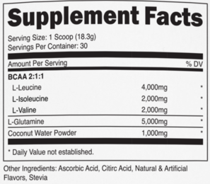 Transparent Labs BCAA+Glutamine Ingredients
