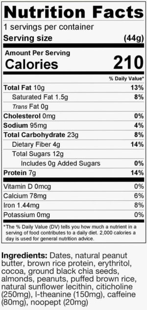 TruBrain Bar Ingredients