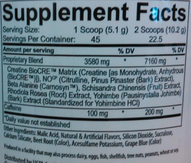 Jack3d 2015 Ingredients