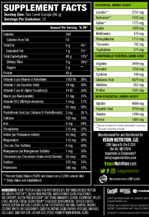 Vegun Nutrition VeganMass Nutrition Facts