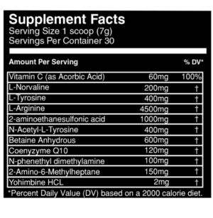 Vein Nutrition Aorta Ingredients